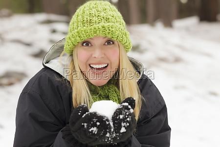 attractive woman having fun in the