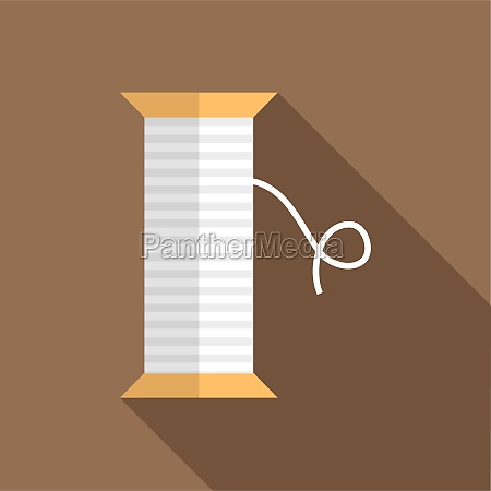 white thread spool icon flat style