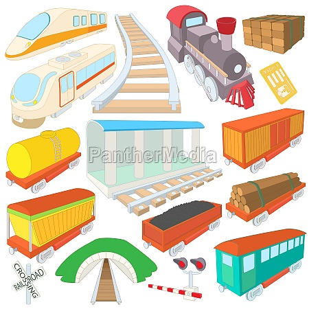 railway icons set cartoon style
