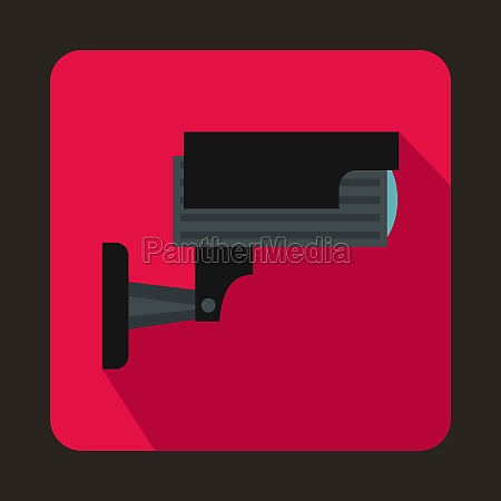 surveillance camera icon in flat style