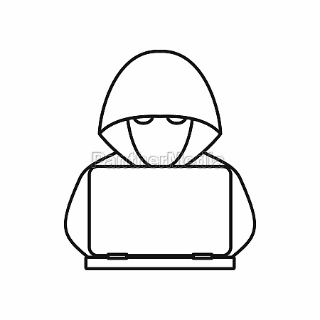 computer hacker with laptop icon outline
