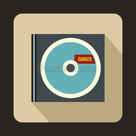 cd with danger lettering icon flat