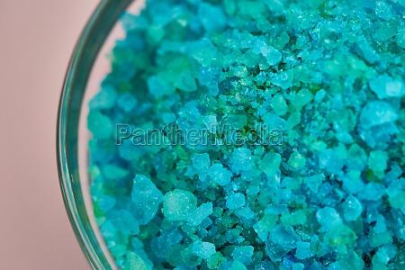 blue sea salt in glass bowl