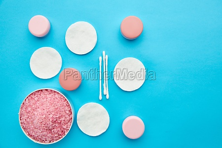 care products on blue background nobody