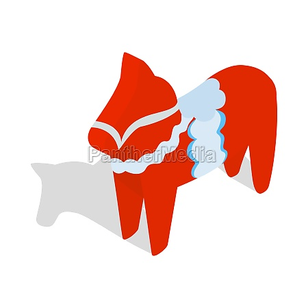 red wooden horse icon in isometric