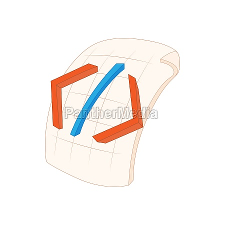 html file icon in cartoon style