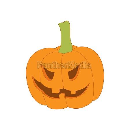 halloween pumpkin icon in cartoon style