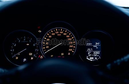 car dashboard interior view car instrument