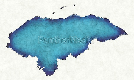 honduras map with drawn lines and