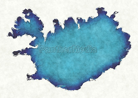 iceland map with drawn lines and