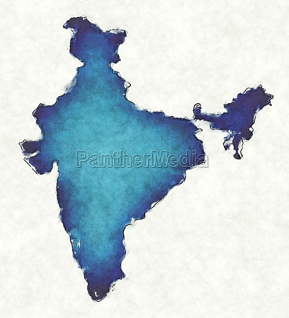 india map with drawn lines and
