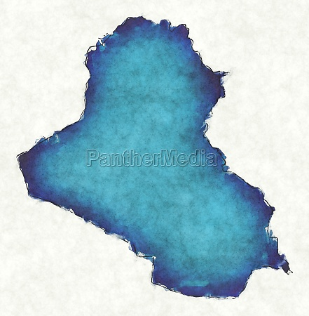 iraq map with drawn lines and