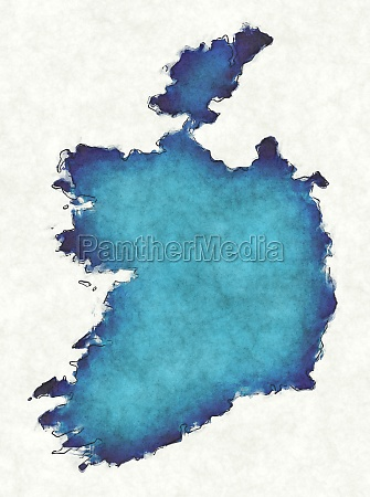 ireland map with drawn lines and