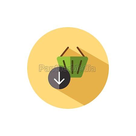 shopping basket down arrow flat icon