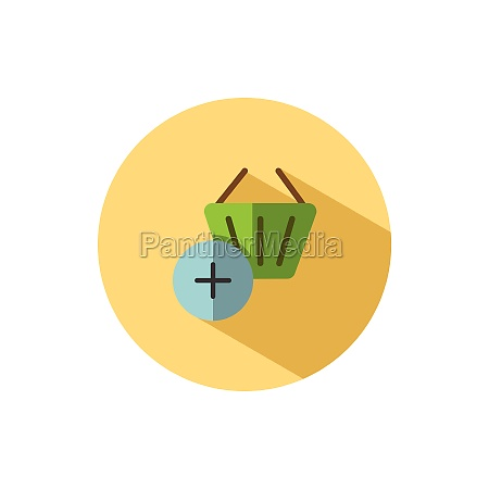 shopping basket add product flat icon