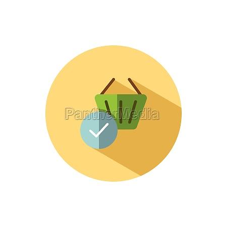 shopping basket check mark flat icon