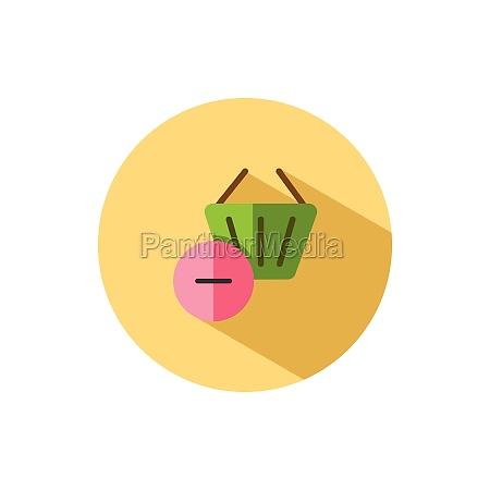 shopping basket delete product flat icon