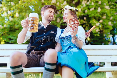 woman and man in bavarian tracht