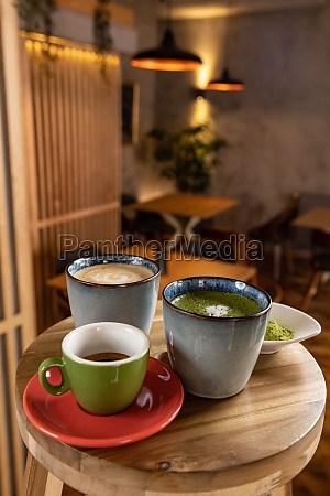 cups of coffee espresso and matcha