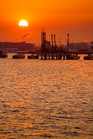 silhouette and dusk of the kawasaki