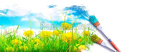 painting the spring landscape brush with