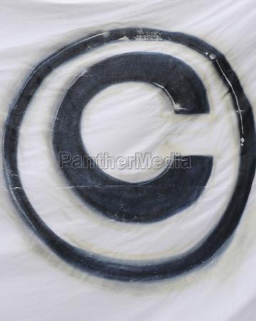 the copyright sign black on white