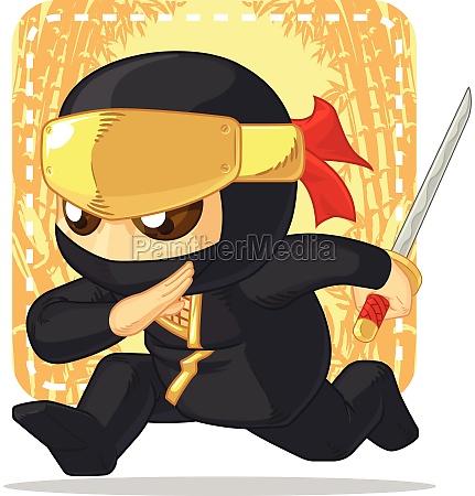 cartoon ninja holding japanese sword illustration