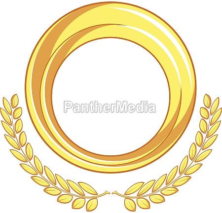 frame gold circle badge laurel ornament