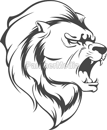 roaring lion silhouette angry animal stencil
