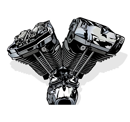 colored illustration of a motorcycle engine