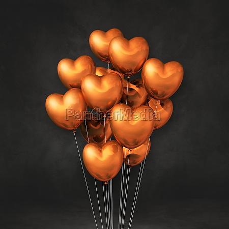 copper heart shape balloons bunch on
