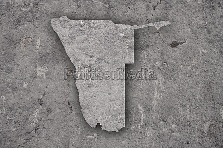 map of namibia on weathered concrete