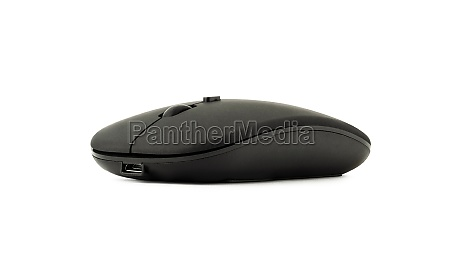 wireless black mouse isolated on white
