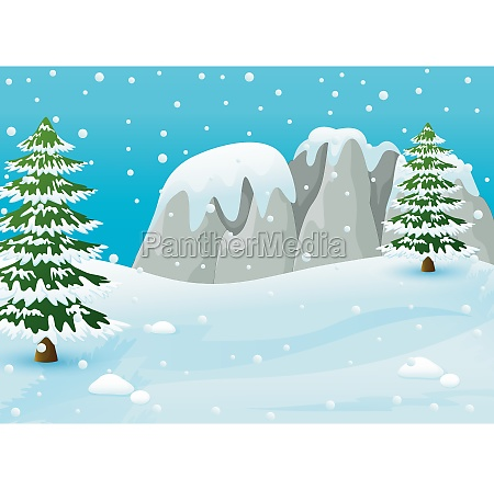 winter landscape with snowy rocks and