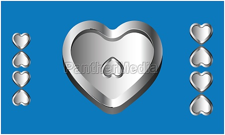 various heart shape on abstract blue