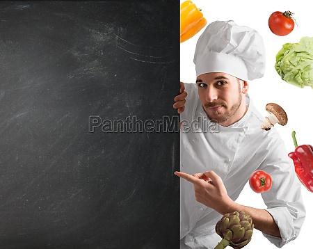 chef with blackboard