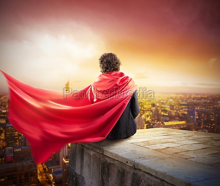 businessman city superhero
