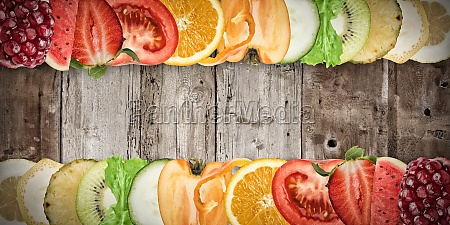 fruit banner on wood background