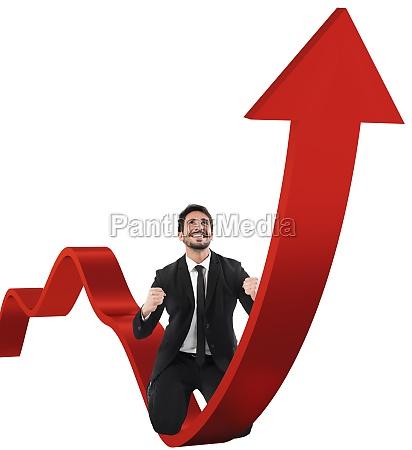 businessman exults for economic success