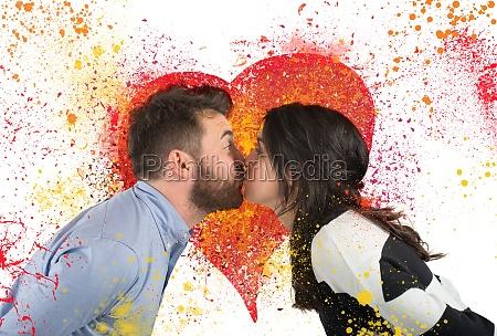 couple love kissing