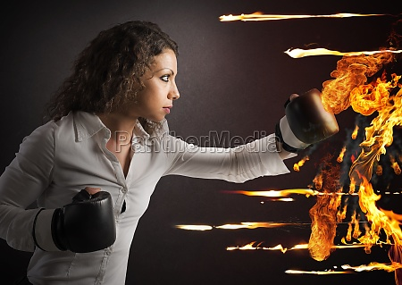 businesswoman vs fire