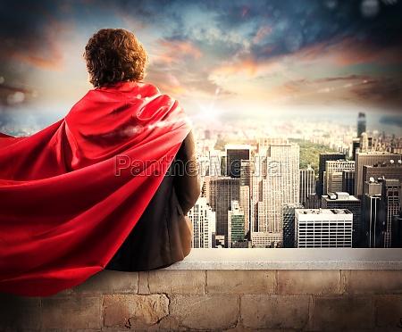 businessman superhero