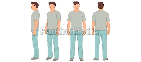 man isolated front back and side