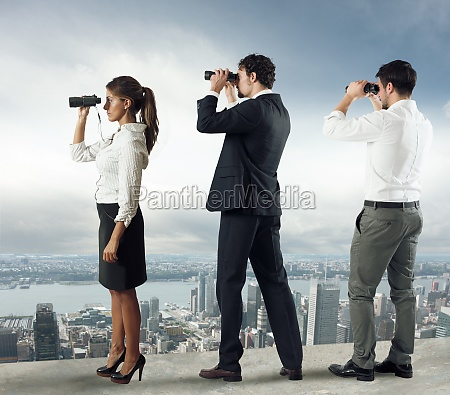 business people looking to the future