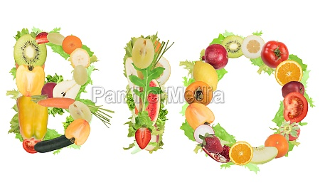 bio with fruits and vegetables