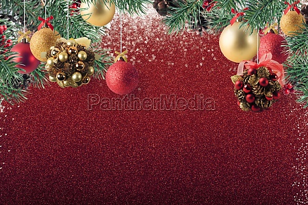 xmas decoration on sparkly red glitter