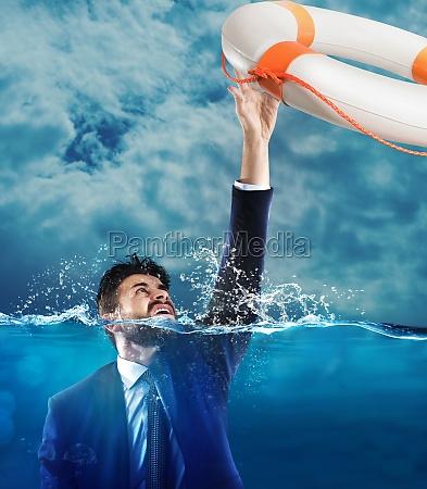 help businessman falls