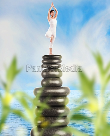 yoga and meditation on stones