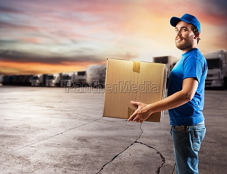 courier ready to deliver packages with