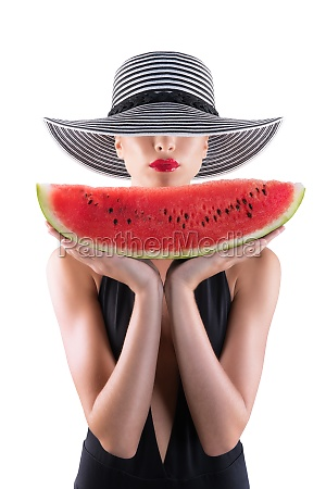 summertime concept with girl and watermelon